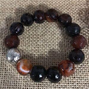 Brown & Rust Agate Stretch Bracelet